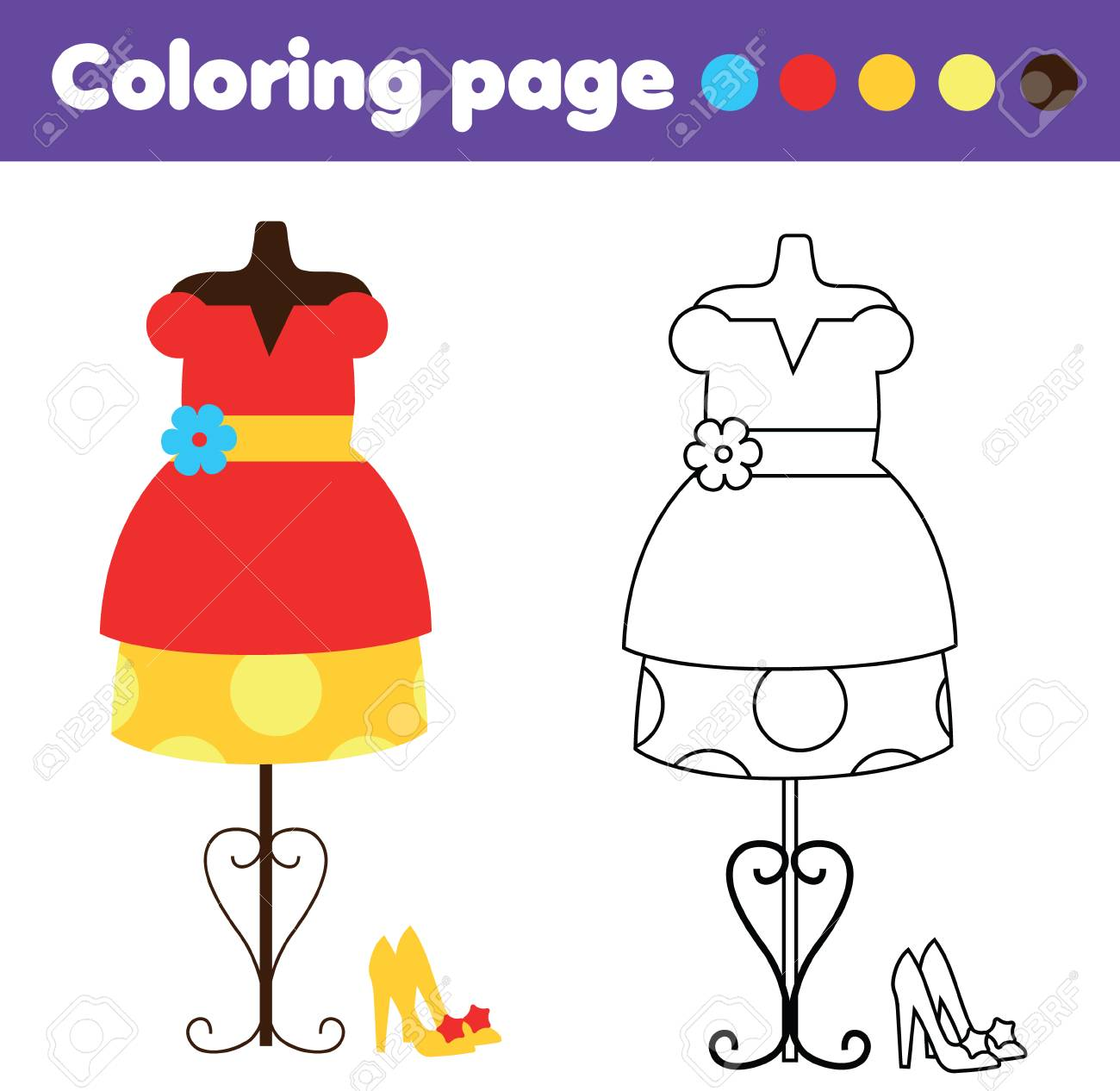 Coloring page with fashionable dress and shoes. Color the picture