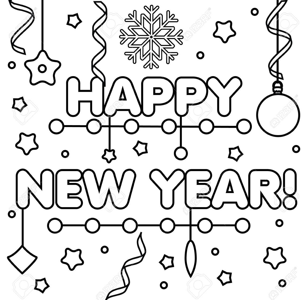 Farbtonseite Mit Guten Rutsch Ins Neue Jahr-Text, Schneeflocken Und ...