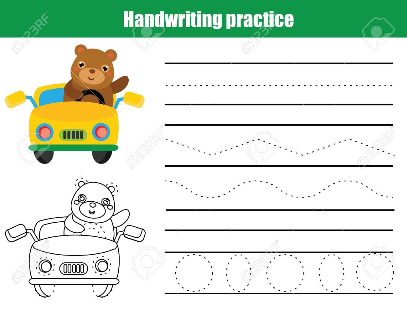 Handschrift Praxisblatt. Pädagogisches Kinderspiel, Spurenwellen Und ...