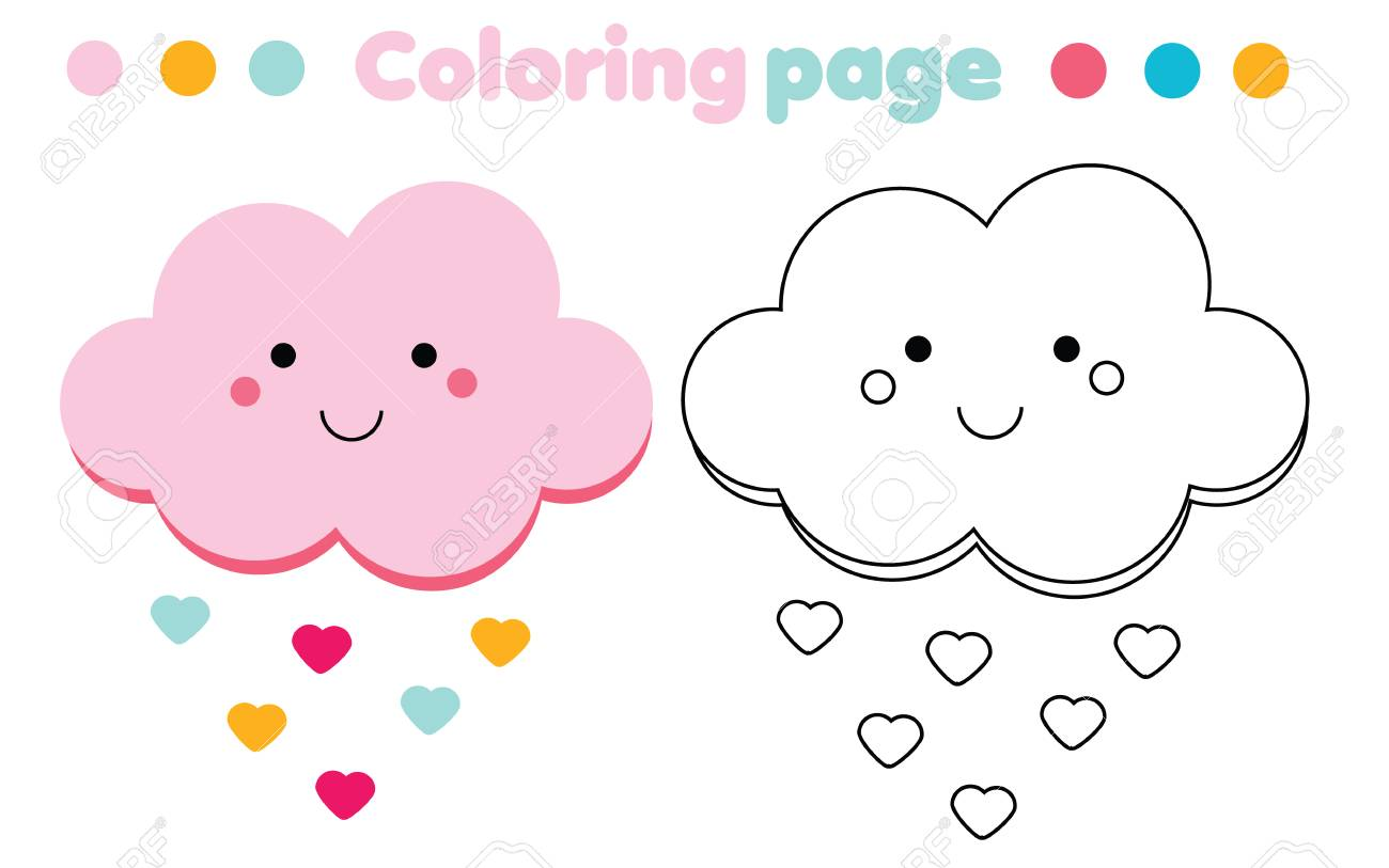 graphic relating to Cloud Printable named Coloring website page with lovable cloud. Colour the envision. Insightful..