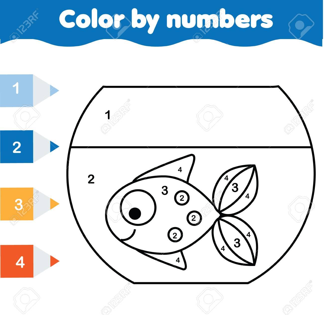 Lernspiel Für Kinder. Malvorlage Mit Fischen Im Aquarium. Farbe Nach ...