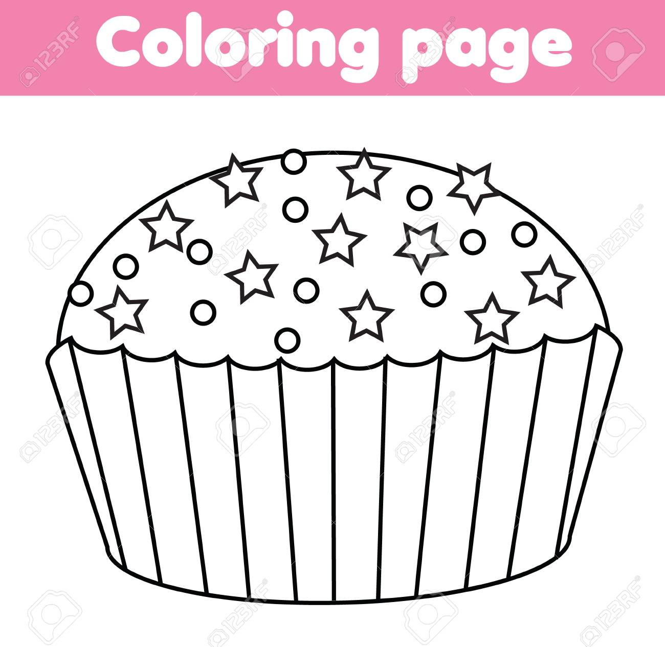 Coloring Page With Cupcake Color The Picture Educational Children