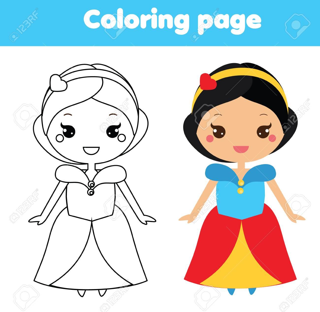 Dibujo Para Colorear Con Linda Princesa Colorea La Imagen Juego