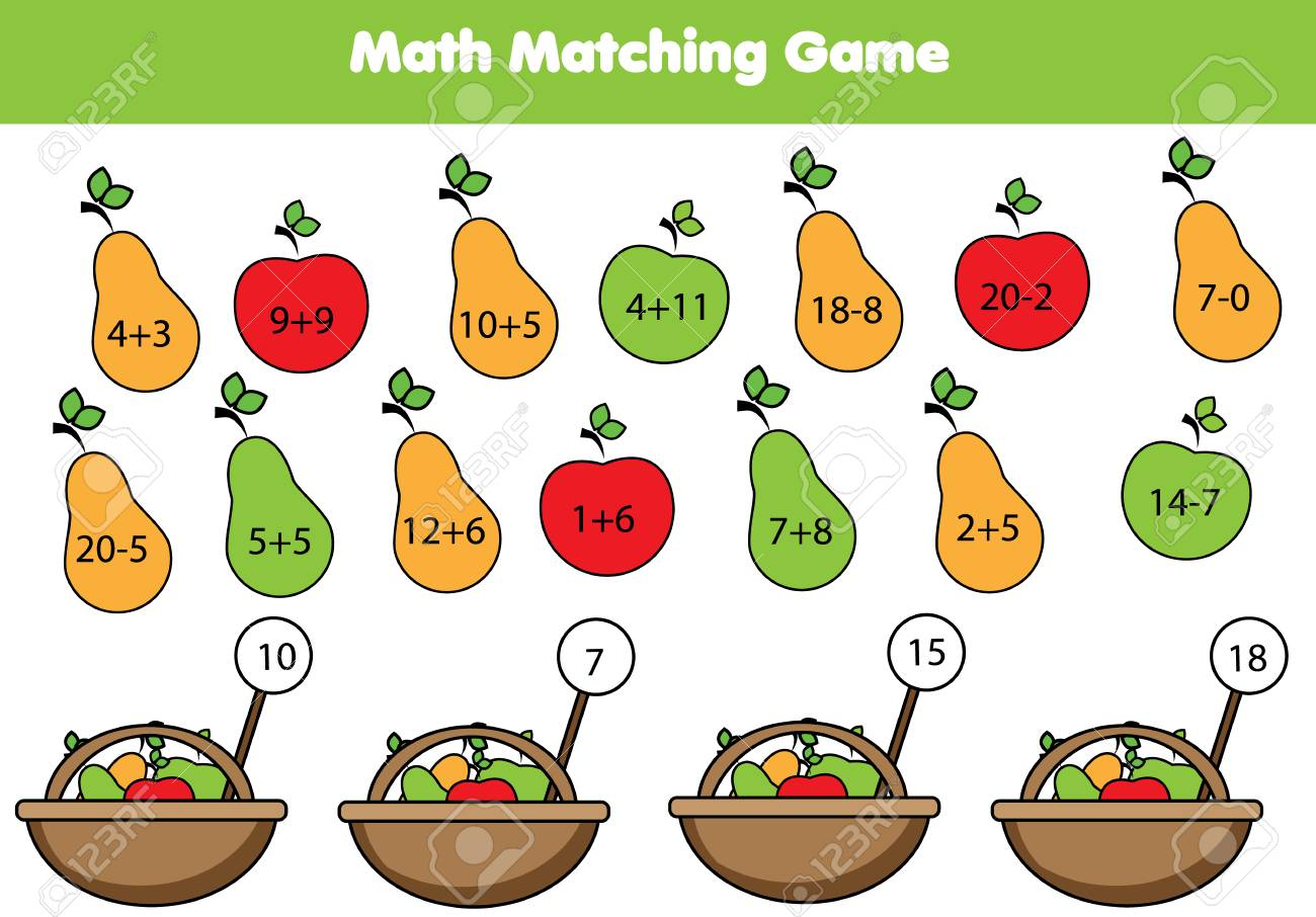 Math educational game for children. Matching mathematics activity. Counting game for kids. - 91809333