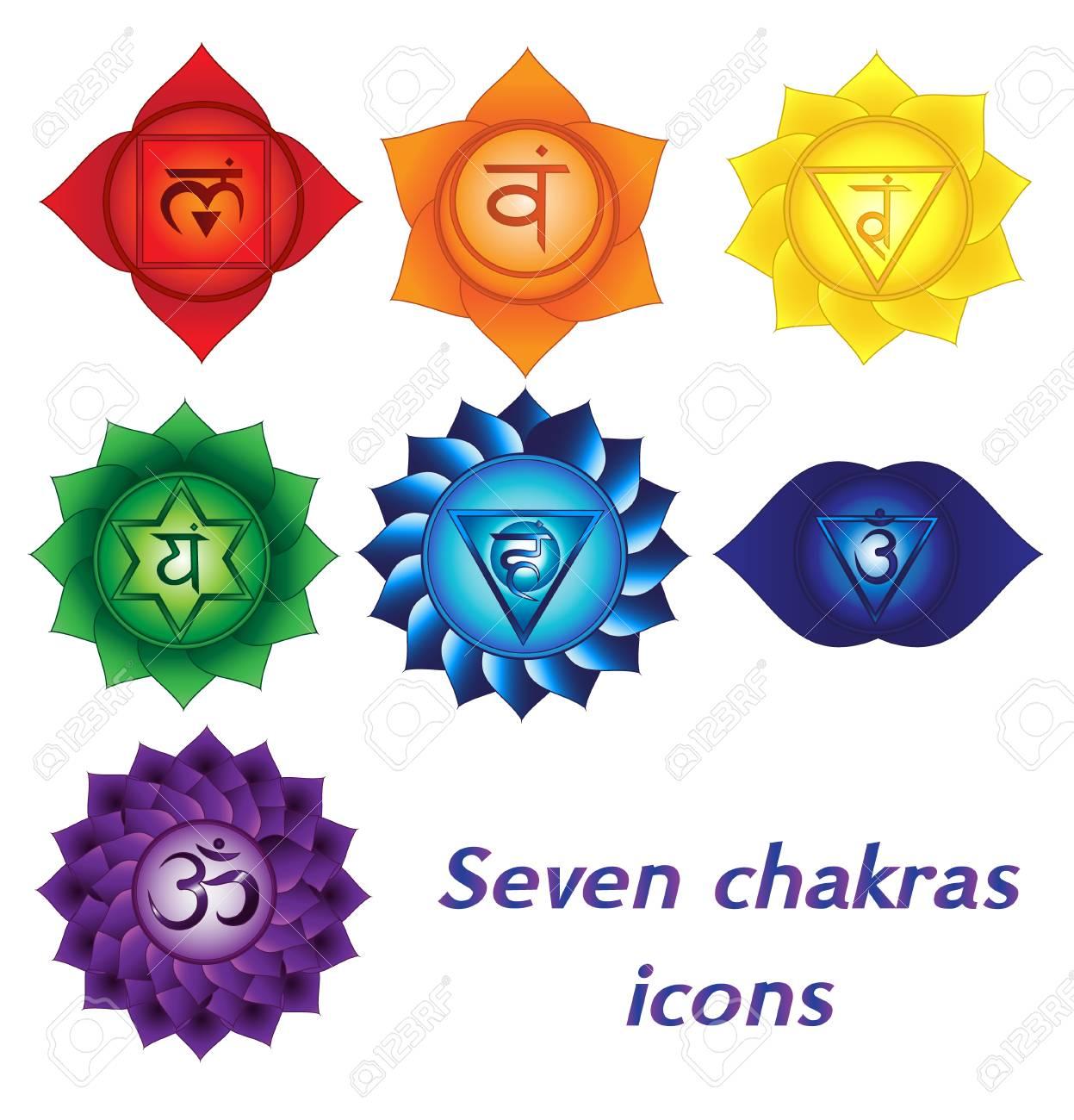 Seven chakras icons. Colorful spiritual tattoos kundalini yoga symbols. - 93889226