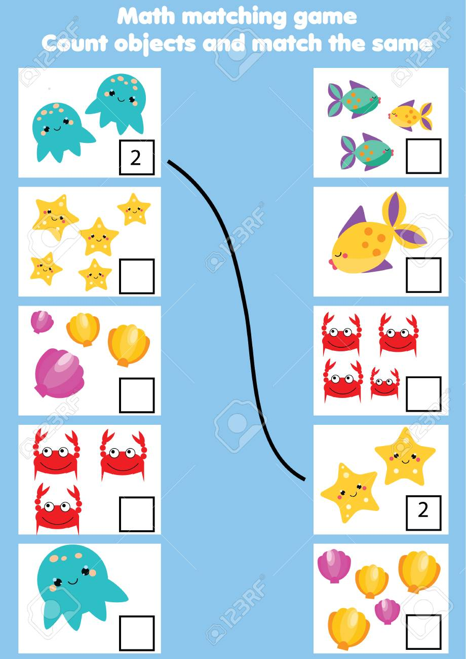 Math Educational Game For Children. Matching Mathematics Activity ...