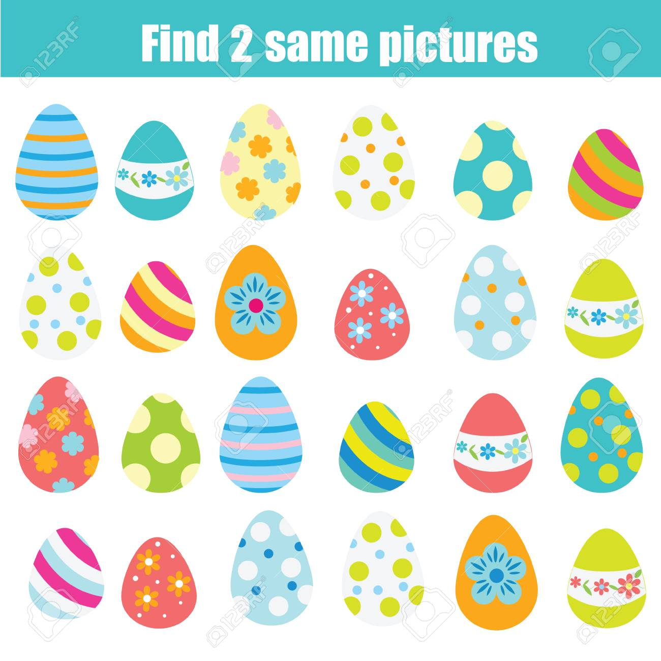 Easter activity. Find the same pictures. Children educational game. Find pair of easter eggs for toddlers - 96235181