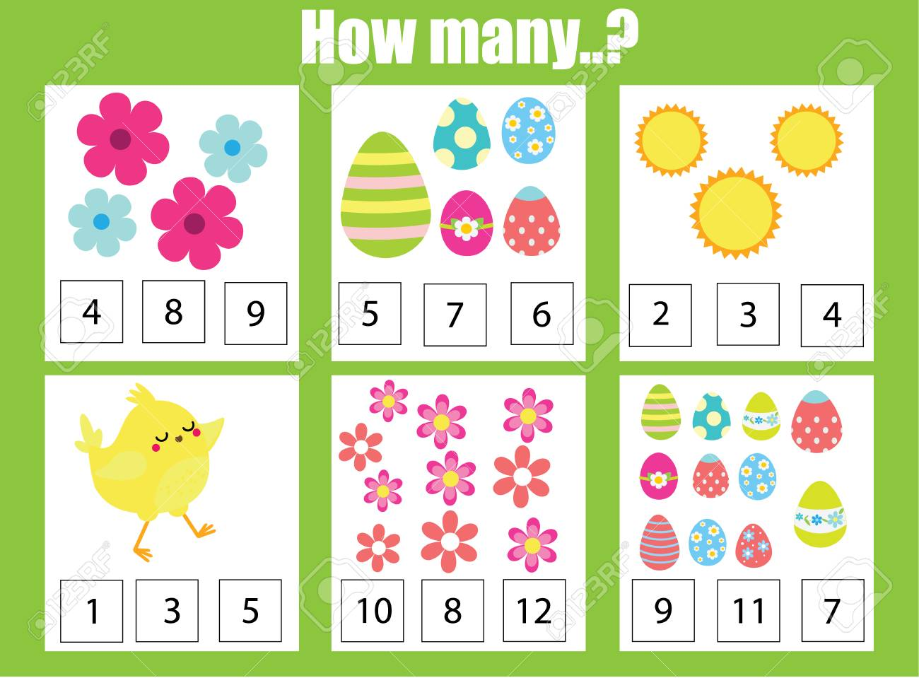 Easter game. Counting educational children game, math kids activity sheet. How many objects task. Learning mathematics, numbers, addition theme - 97146464
