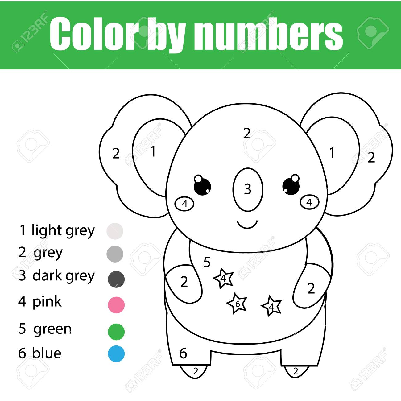 Children Educational Game Coloring Page With Cute Koala Color By Numbers Printable Activity