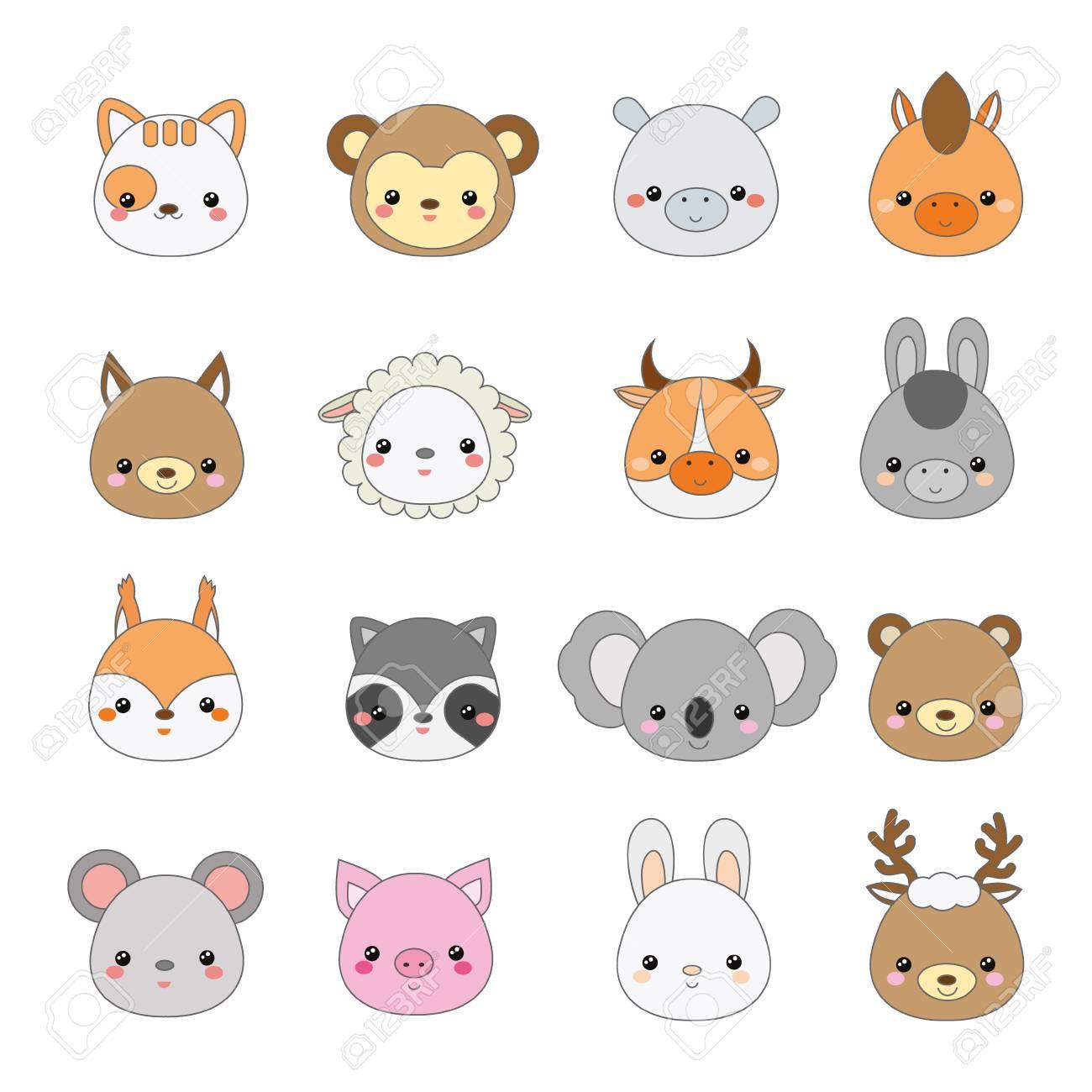 Cute animals faces  Big set of cartoon kawaii wildlife and farm