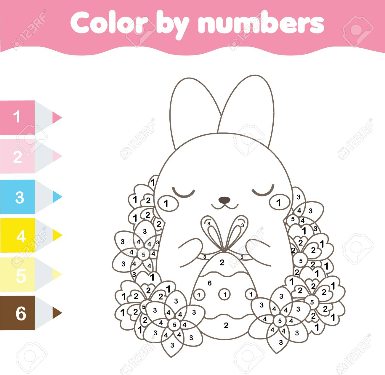 Easter Coloring Page Color By Numbers Printable Worksheet Royalty Free Cliparts Vectors And Stock Illustration Image 98025518