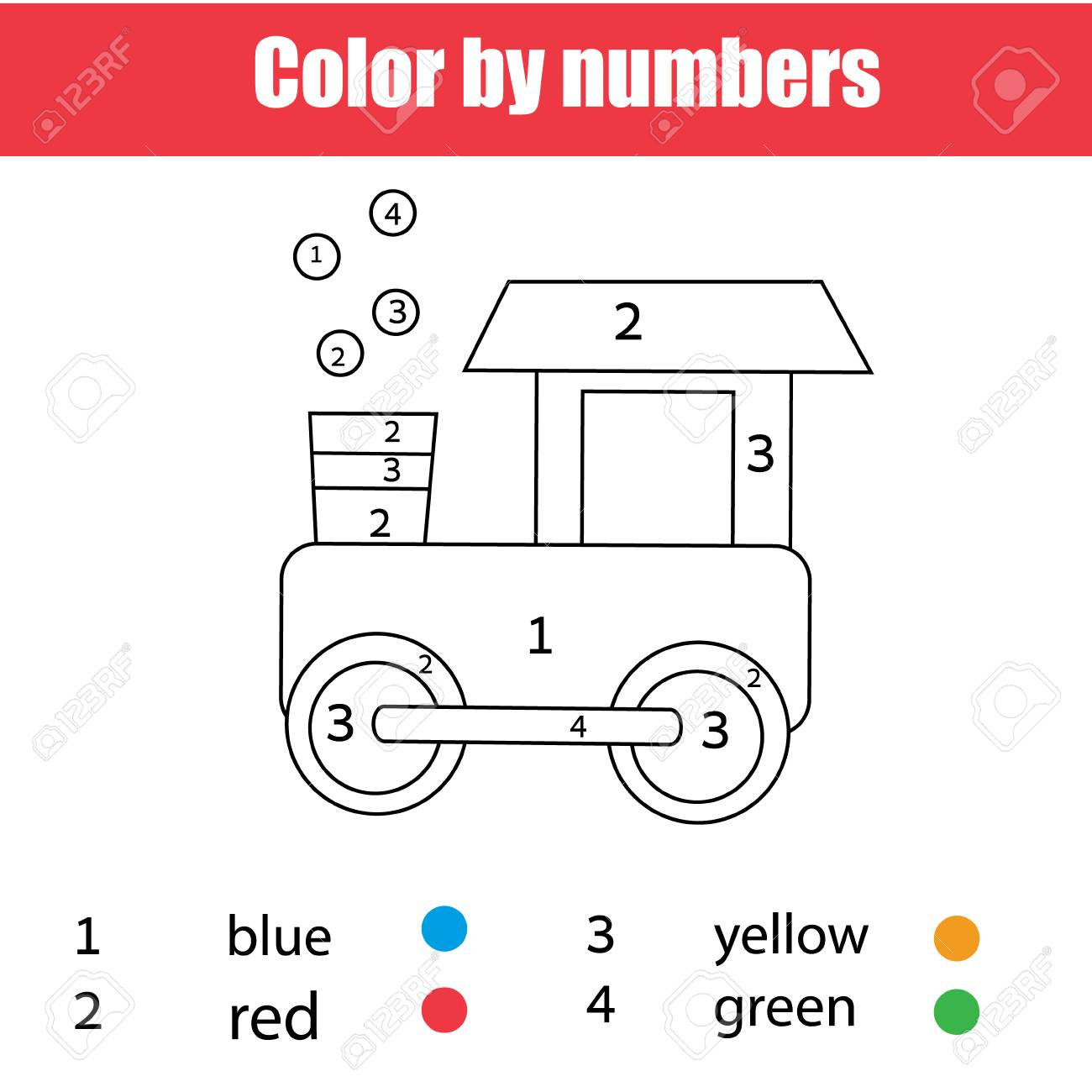 Coloring Page With Toy Train. Color By Numbers, Printable Worksheet ...