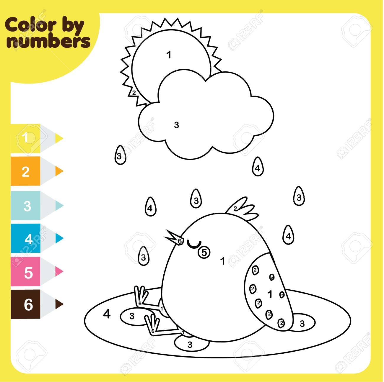 image regarding Printable Activities for Toddlers referred to as Coloring web page with chook. Colour through figures, printable worksheet