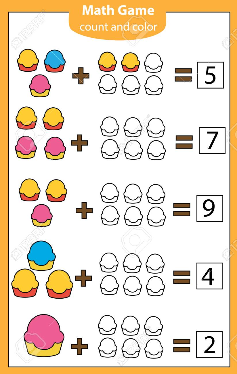 Mathematics workshhet. eduational game for children. Counting,..