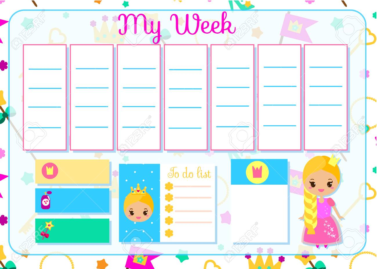 kids timetable with cute princess. weekly planner for children