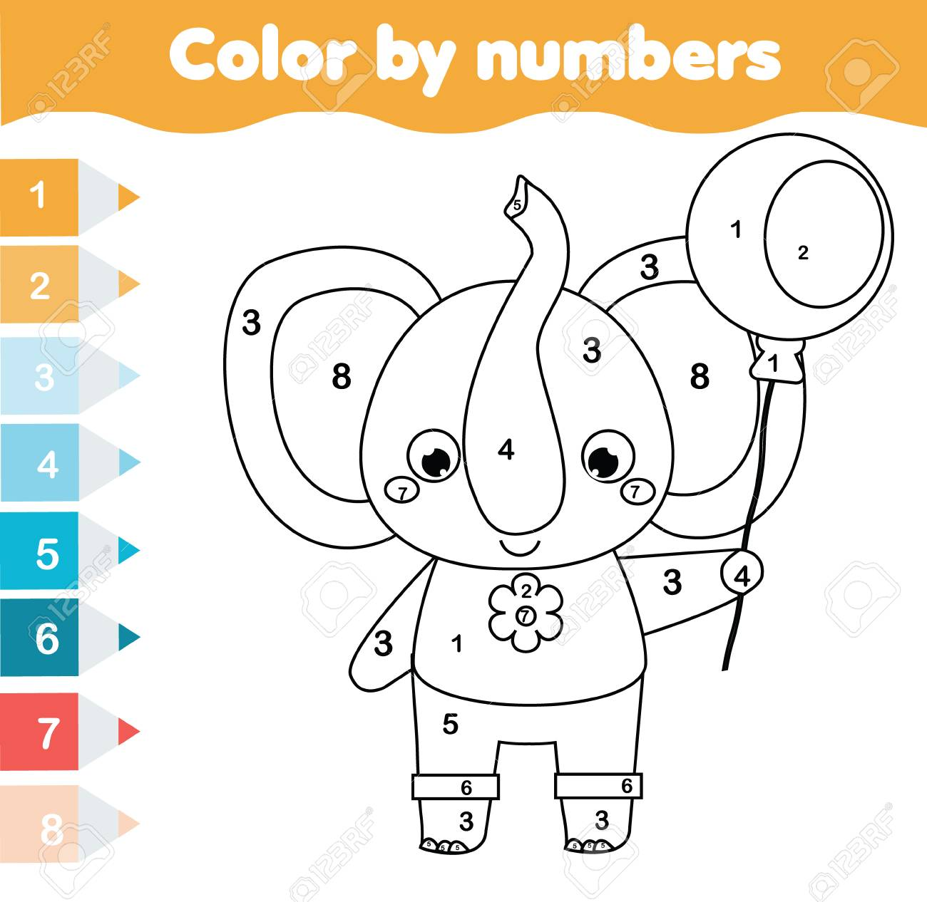 Children educational game. Coloring page with elephant. Color by numbers, printable activity for toddlers and pre school age. Animals theme - 99117610