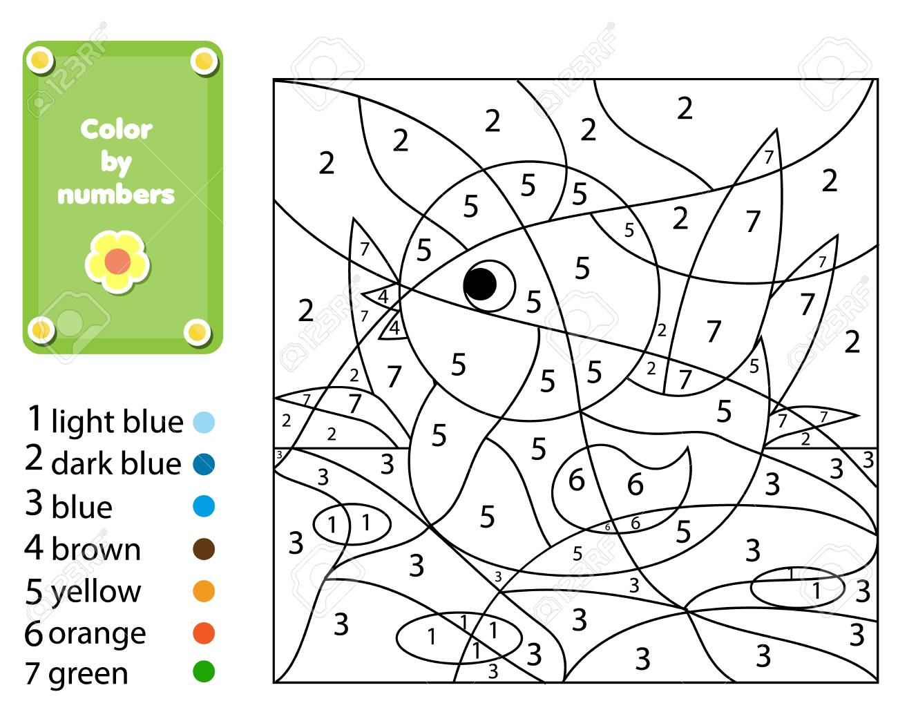 Children Educational Game Coloring Page With Duck Color By Numbers Printable Activity