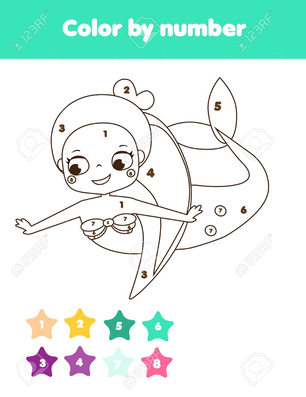 Children Educational Game Coloring Page With Cute Mermaid Color Royalty Free Cliparts Vectors And Stock Illustration Image 99014805