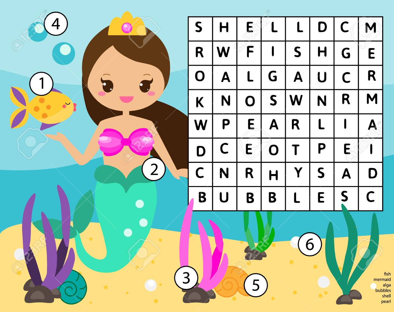 Word Search Puzzle Kids Activity. Educational Children Game For ...