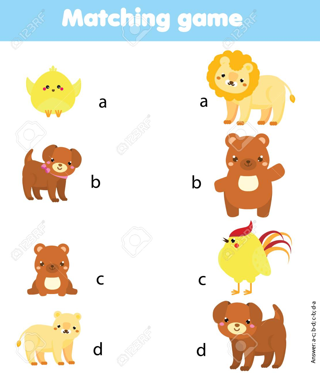 Matching Game Matching Game Match Animal Parent With Baby Royalty Free Cliparts Vectors And Stock Illustration Image 100952938