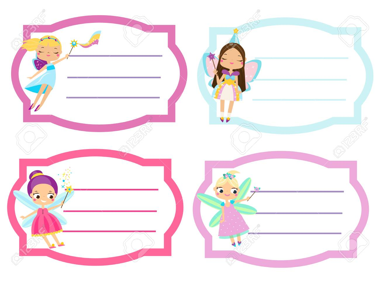 school labels with beautiful flying fairy. name tags, stickers