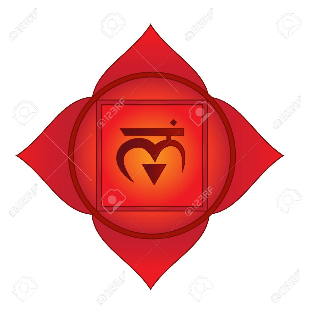Muladhara First Root Basic Chakra Symbol Isolated Vector