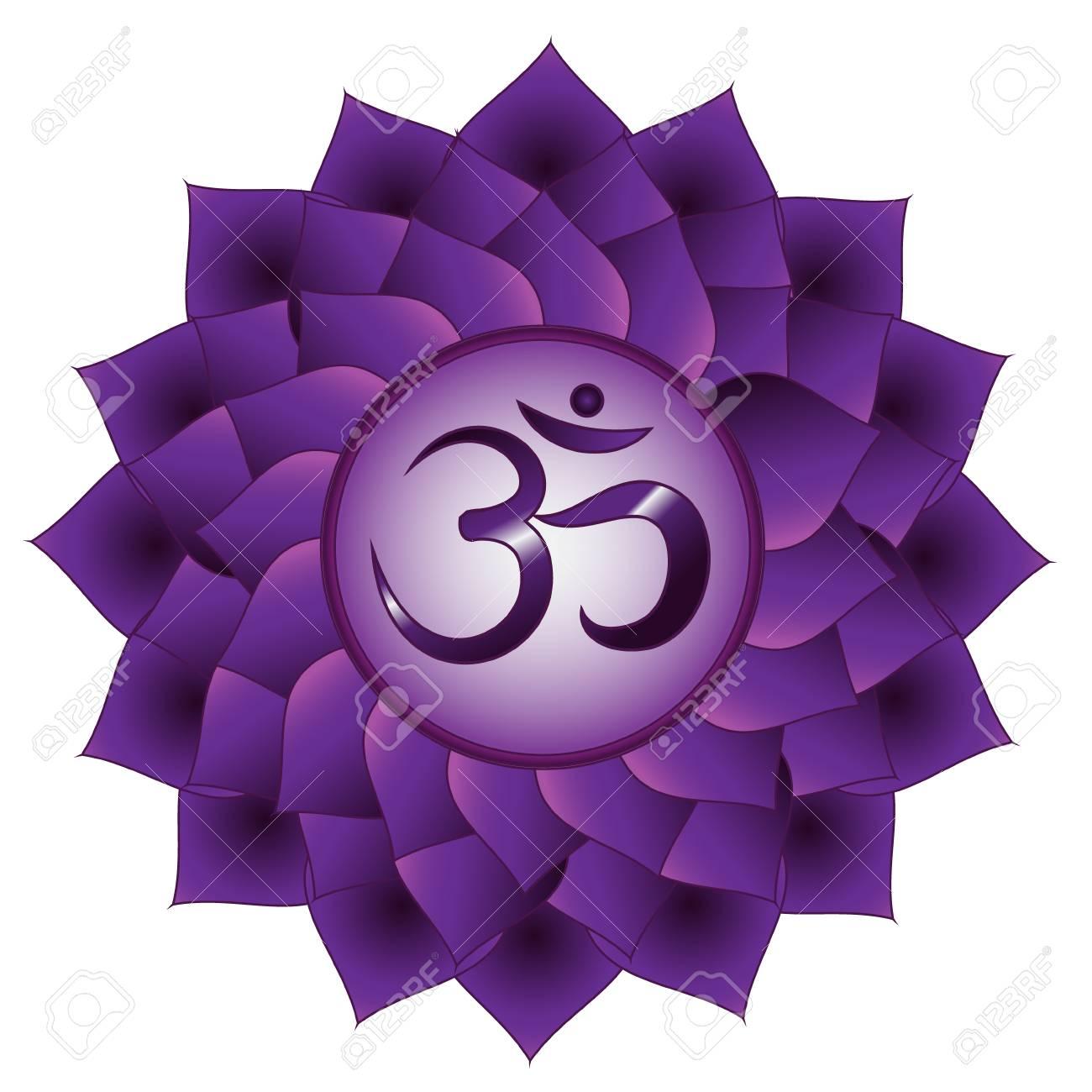 Sahasrara Chakra Seventh Crown Chakra Symbol Isolated Vector