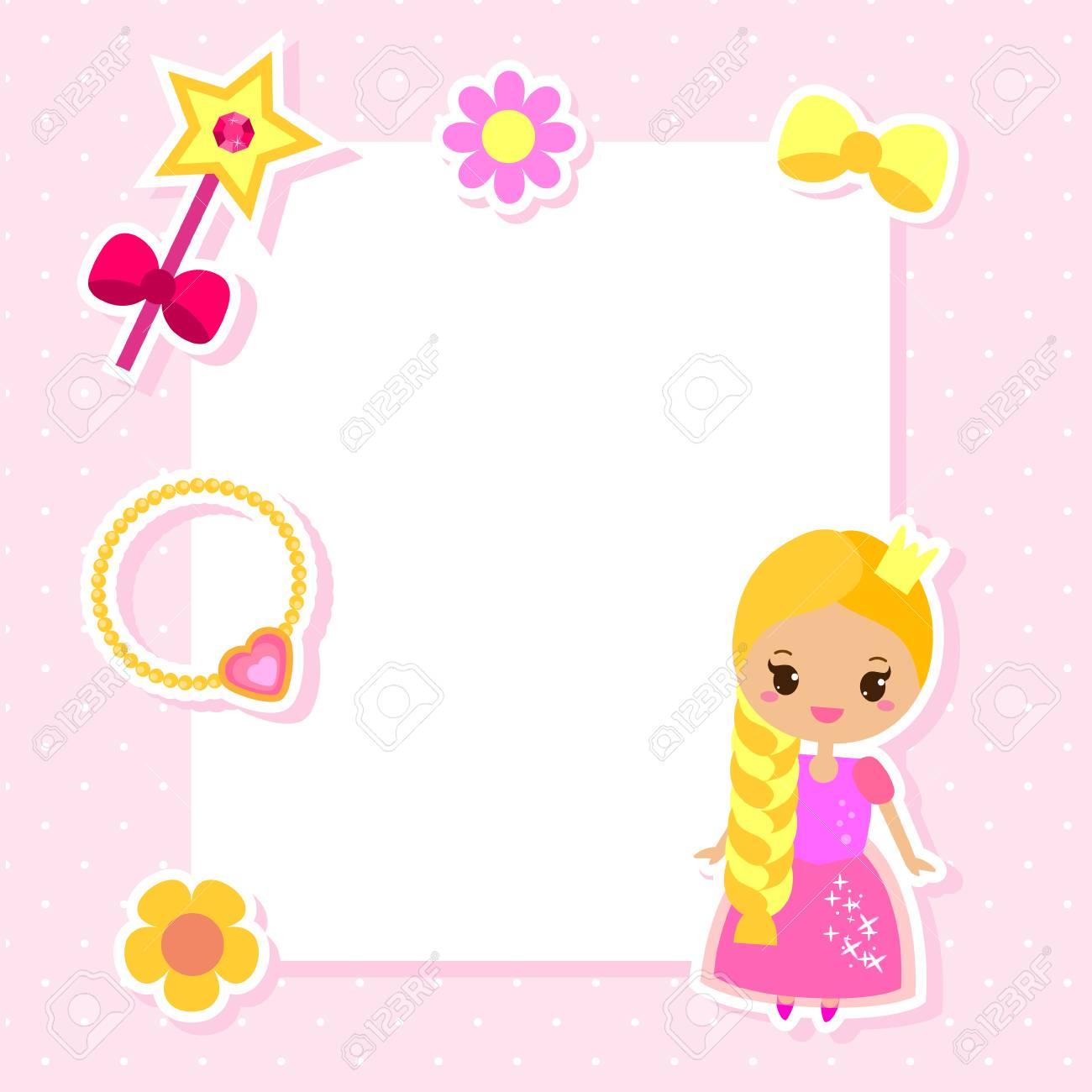 Princess Frame Design Template For Photos Children Diplomas