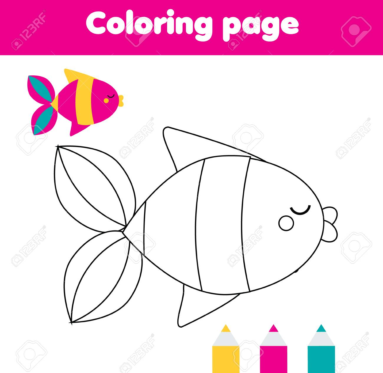 Coloring Page With Fish Drawing Kids Activity For Toddlers