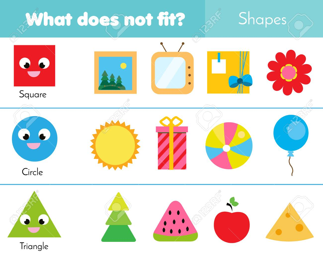 Educational children game. Logic game. What does not fit type. learning geometric shapes for kids and toddlers - 101757274