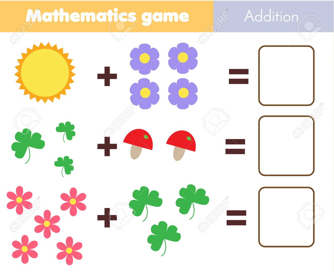 Mathematics worksheet. educational game for children. Learning..