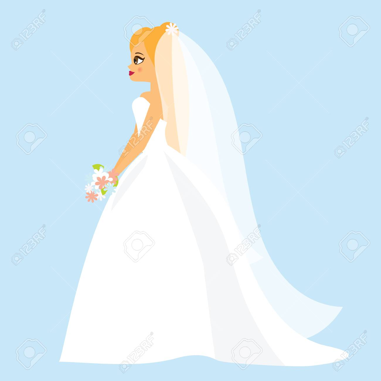 Cartoon bride. Happy female in fashionable wedding dress. Side..