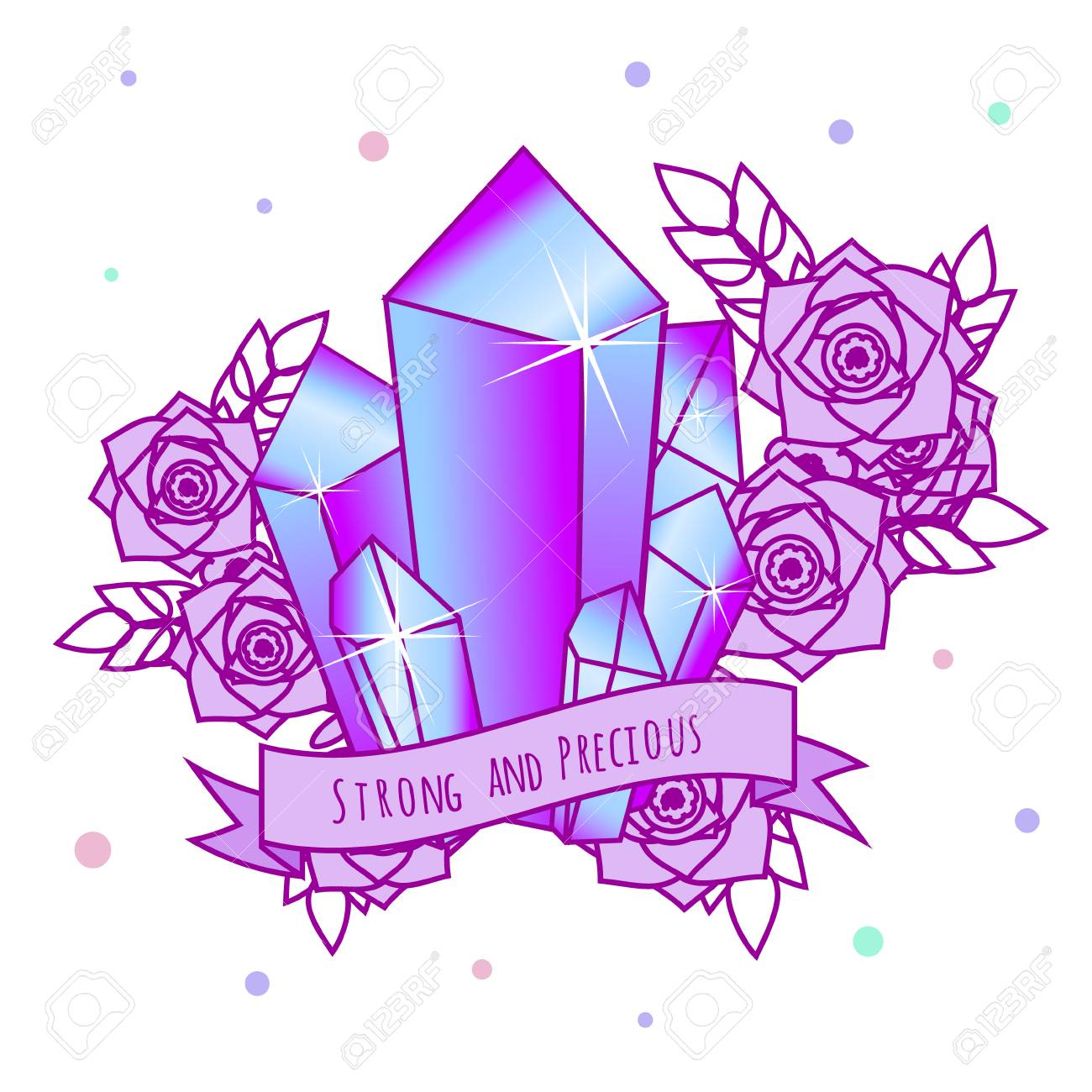 Magic Crystals with flowers and motivational slogan on ribbon. Girls tattoo, sticker. Vector illustration in pastel gothic colors - 101757418