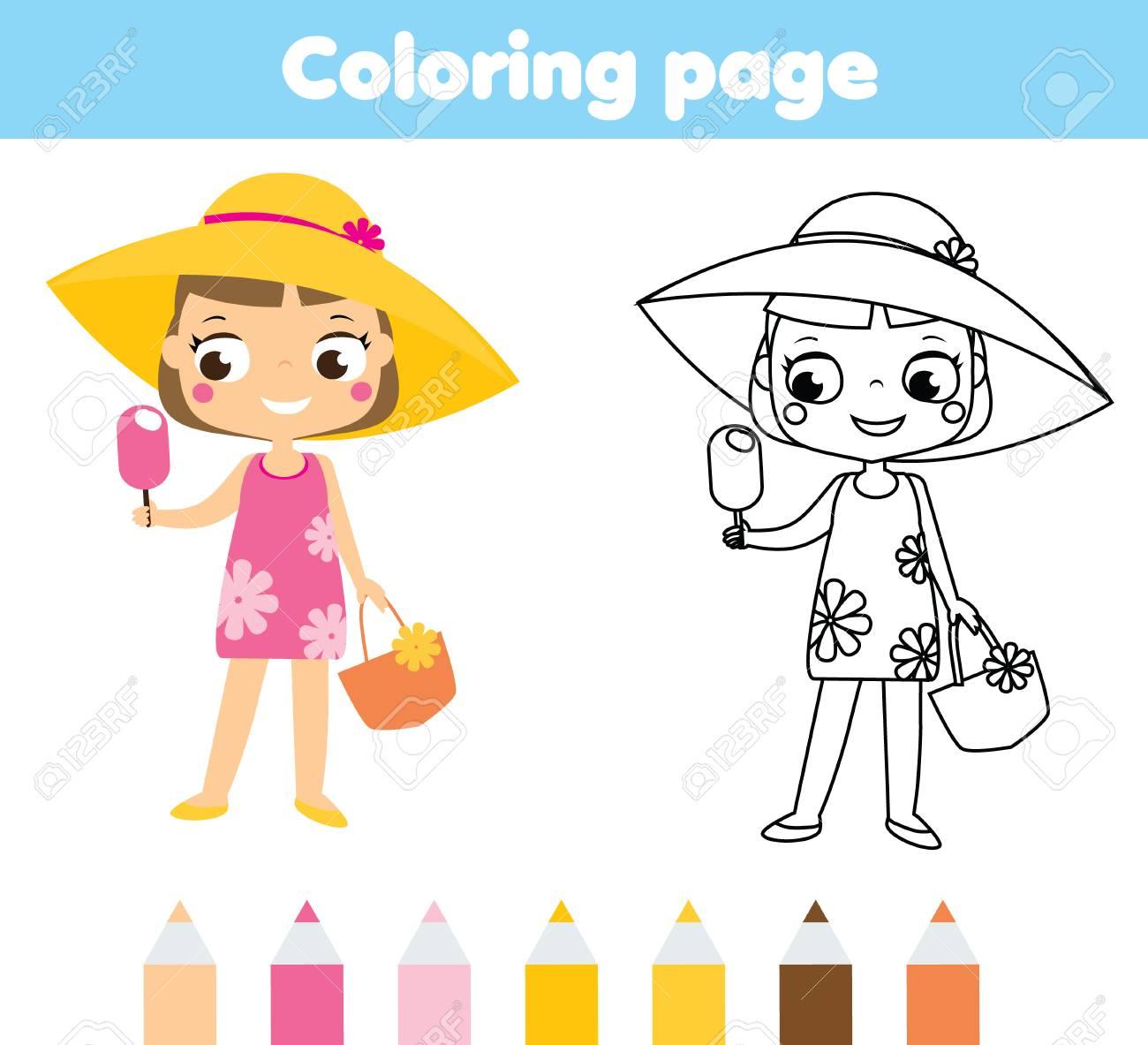 Verano De Vacaciones Página Para Colorear Para Dibujos Animados Chica De Crianza En Traje De Playa Que Come El Juego De Aroma De La Pizca De Juego De
