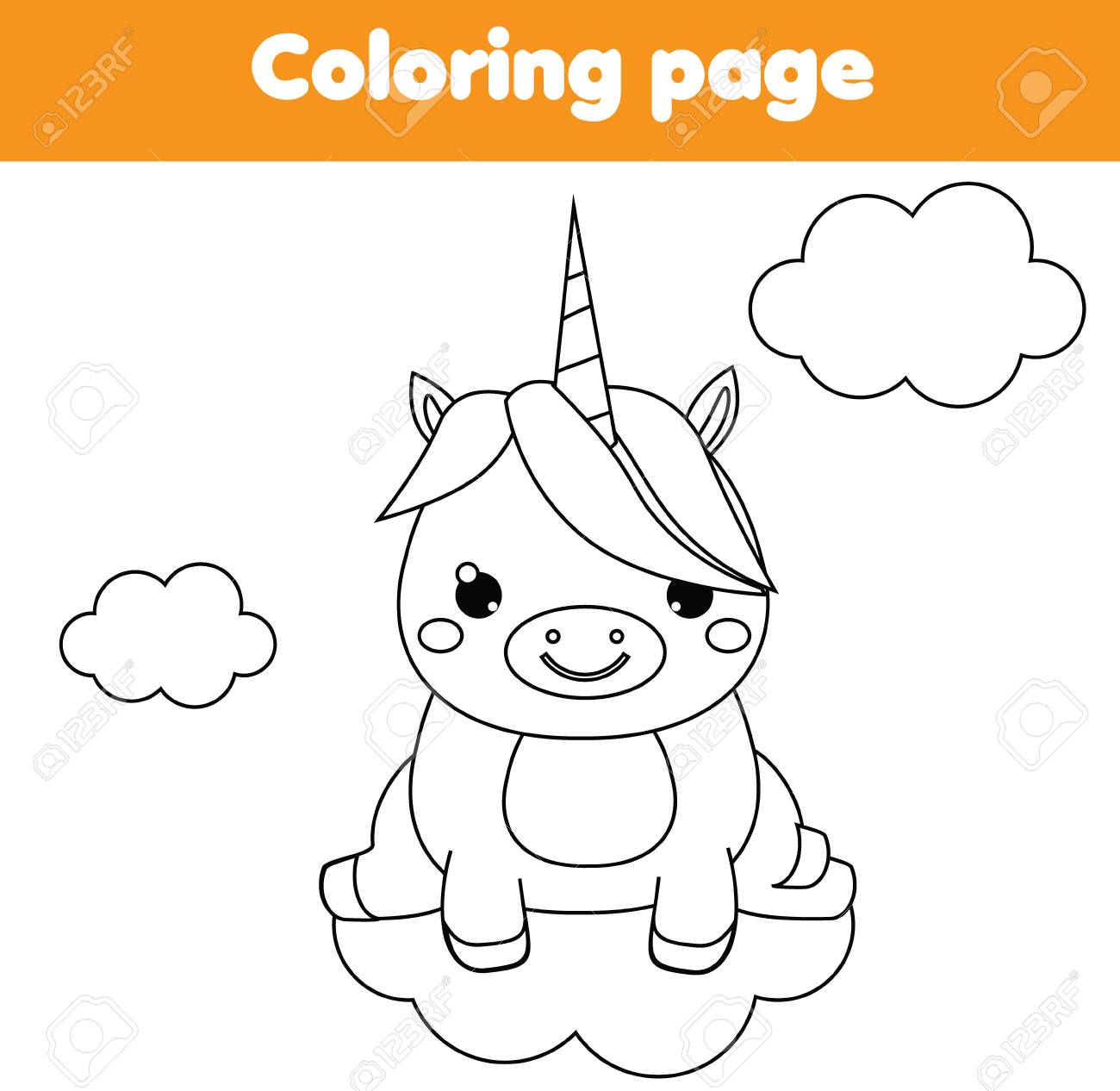 Unicorn coloring page. Educational children game. Drawing printable..