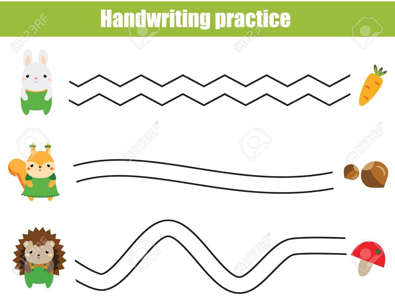 Handwriting practice sheet. Educational children game, printable worksheet for kids. Help animals find food. - 105098869