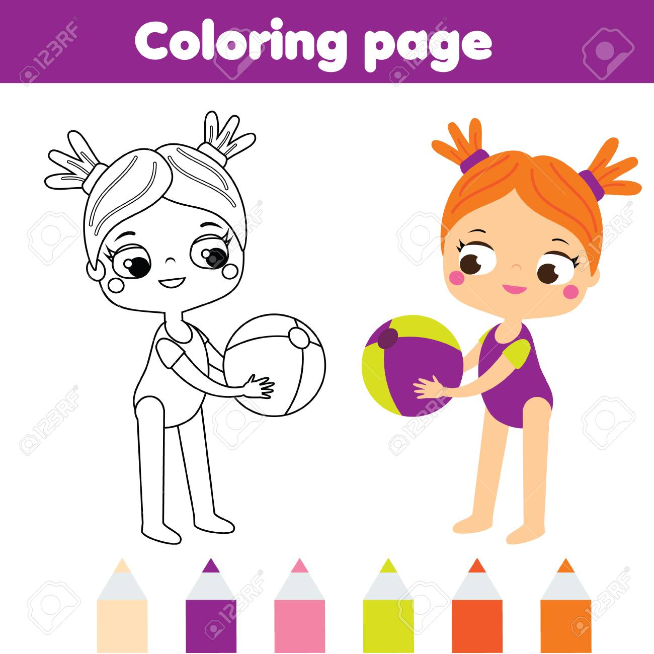 graphic about Beach Ball Printable identified as Coloring web site for small children. Summer time holiday seasons concept. Woman with beach front..