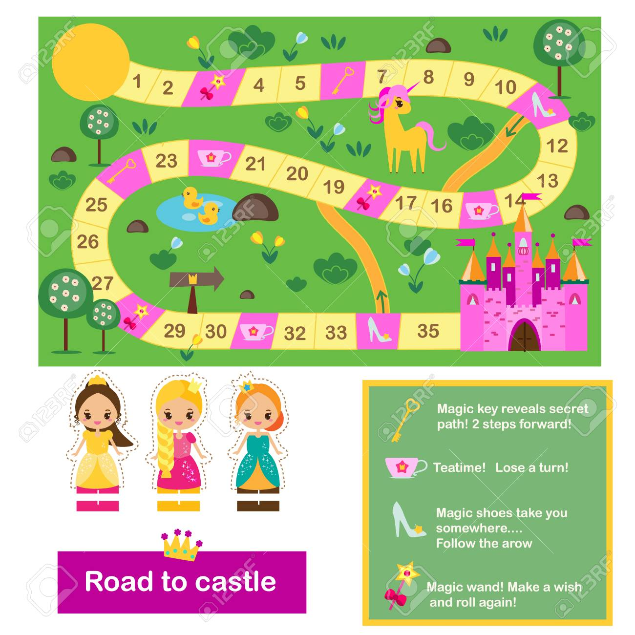 Find Board board game for kids. actvity for girls. fairy tales theme, help..