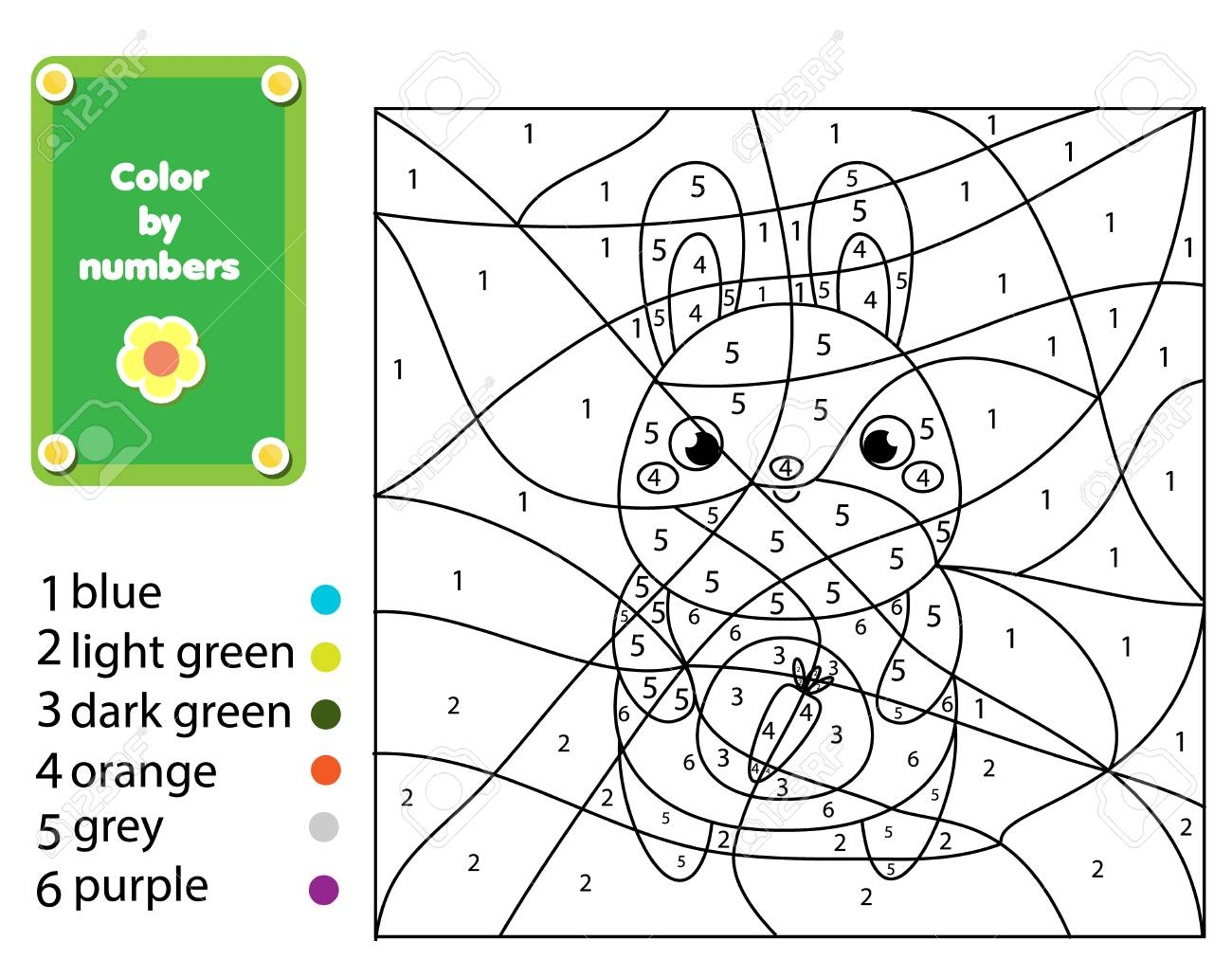 photograph regarding Color by Numbers Printable titled Little ones informative activity. Coloring site with rabbit. Colour as a result of..
