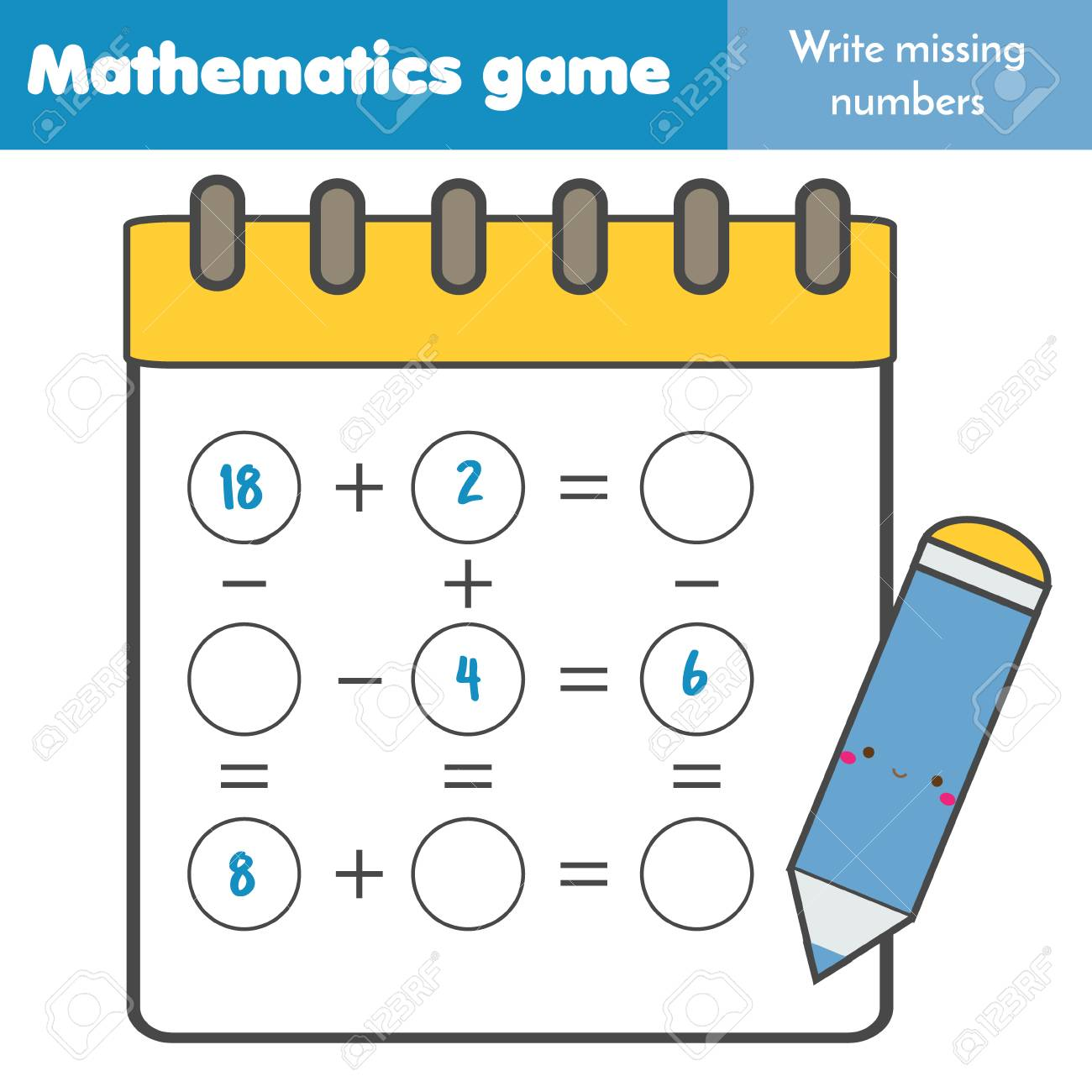 Math educational game for children. Write missing numbers and complete equations. Study subtraction and addition. Mathematics worksheet for kids - 114705415