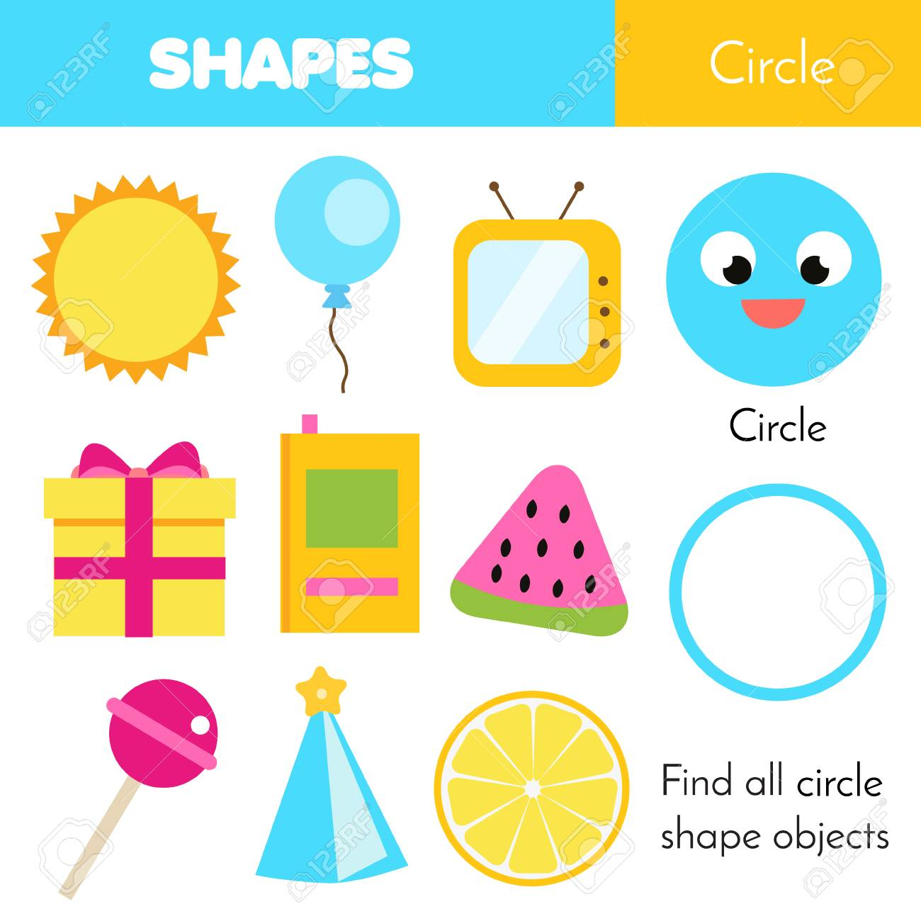 Educational children game. Learning geometric shapes for kids. Circle - 106372429