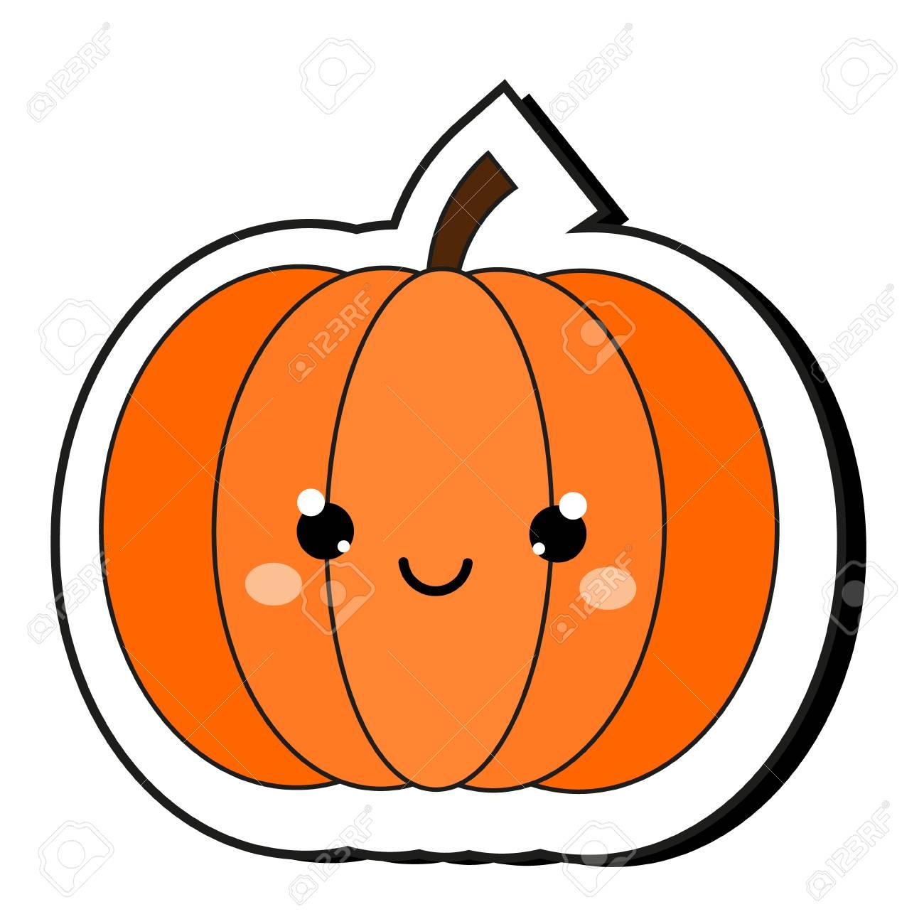 Cute pumpkin Halloween sticker. Isolaed clip art in kawaii style. - 106696746