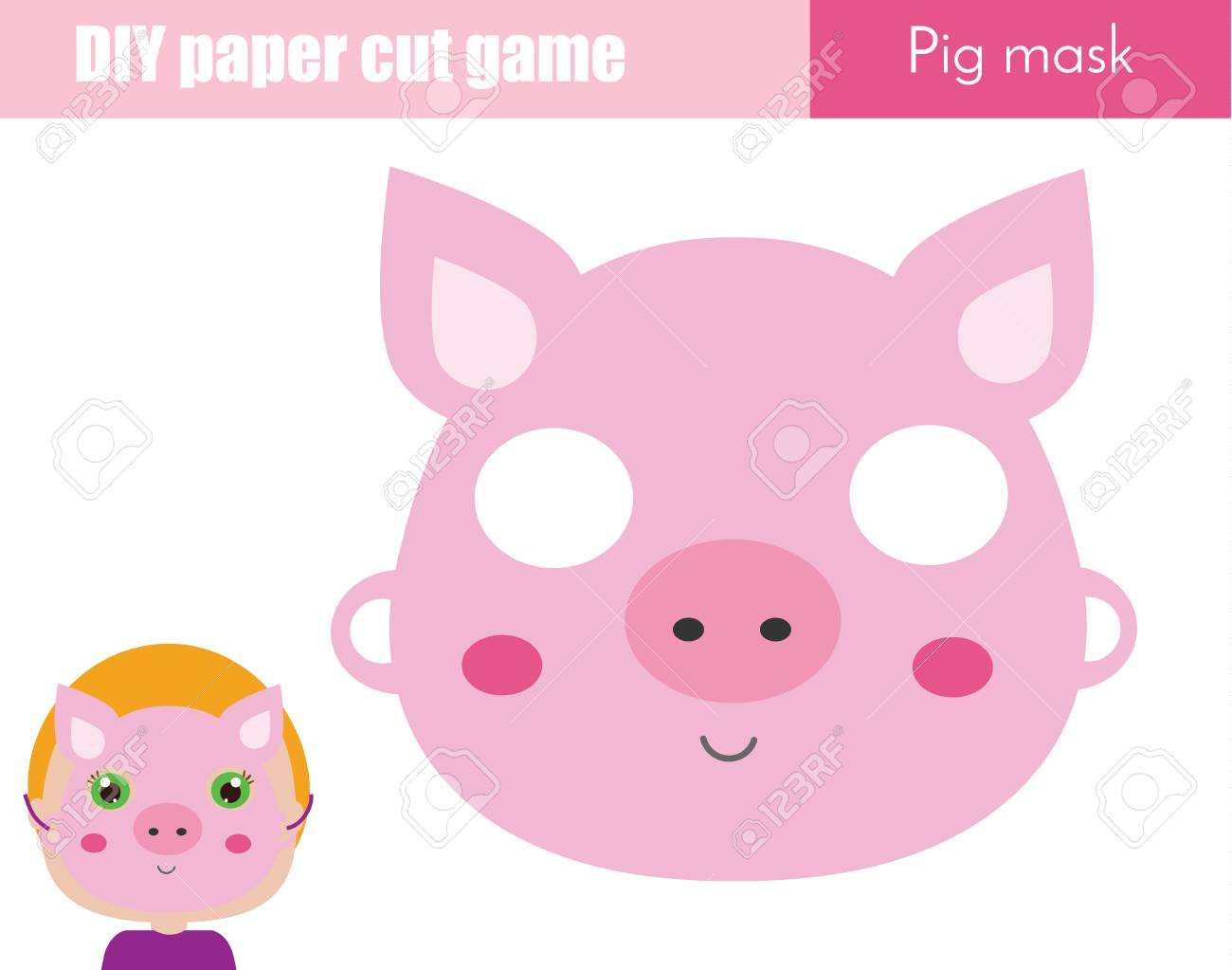 photo regarding Printable Pig Mask identified as Do-it-yourself kids instructive inventive recreation. Produce an animal occasion..