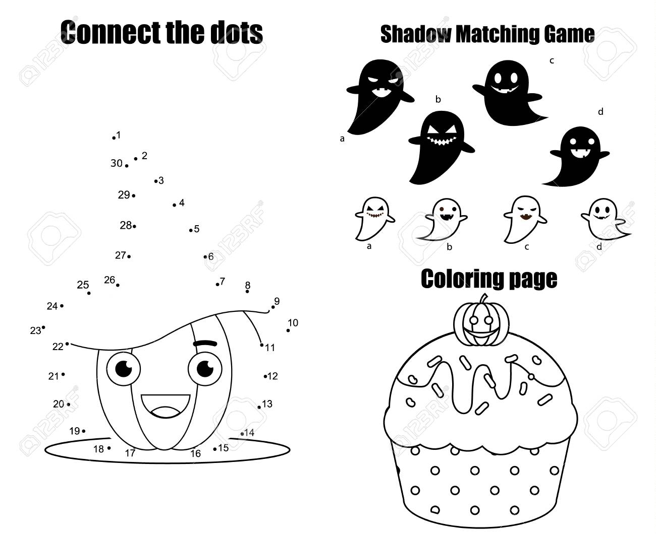 Halloween theme activity page for kids. Educational children..