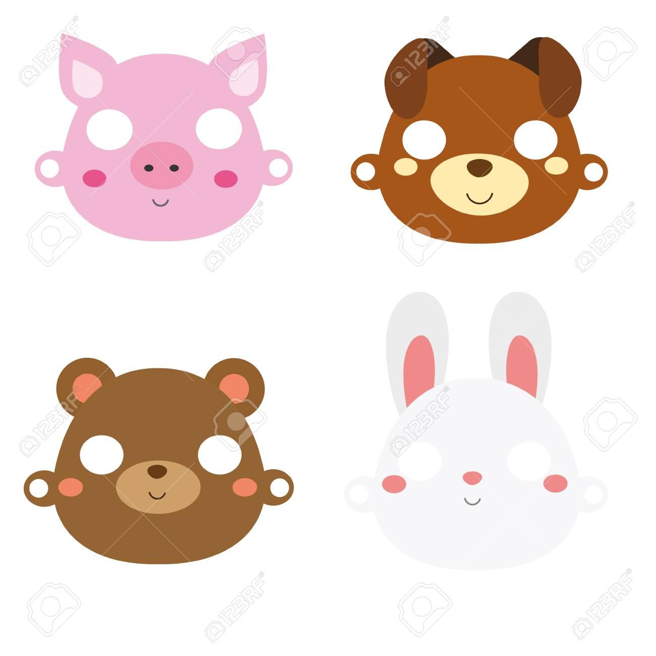 Animal paper masks  Pig, rabbit, bear and dog face masks for
