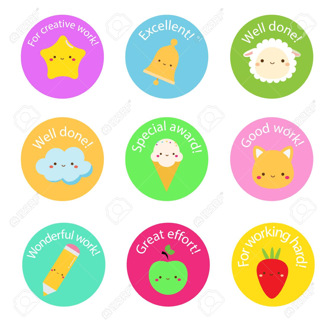 School labels for teachers award stickers for pupils kids with cute symbols and motivational