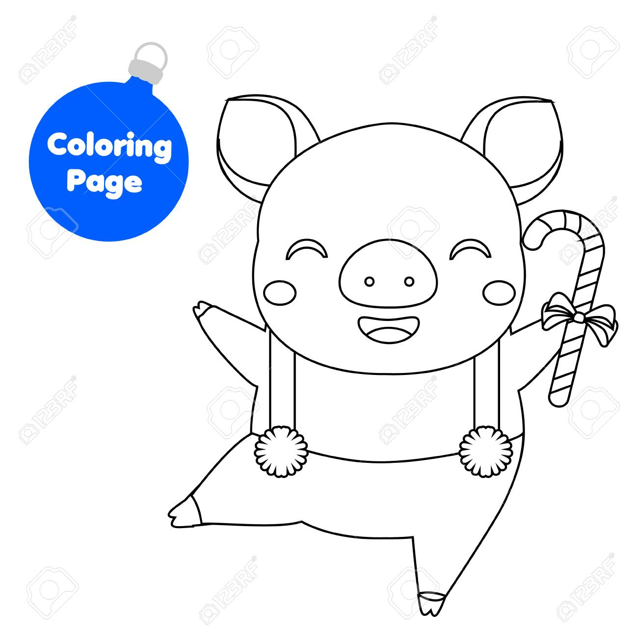 Coloring Page. New Year Pig Holding Candy Cane. Educational Children ...
