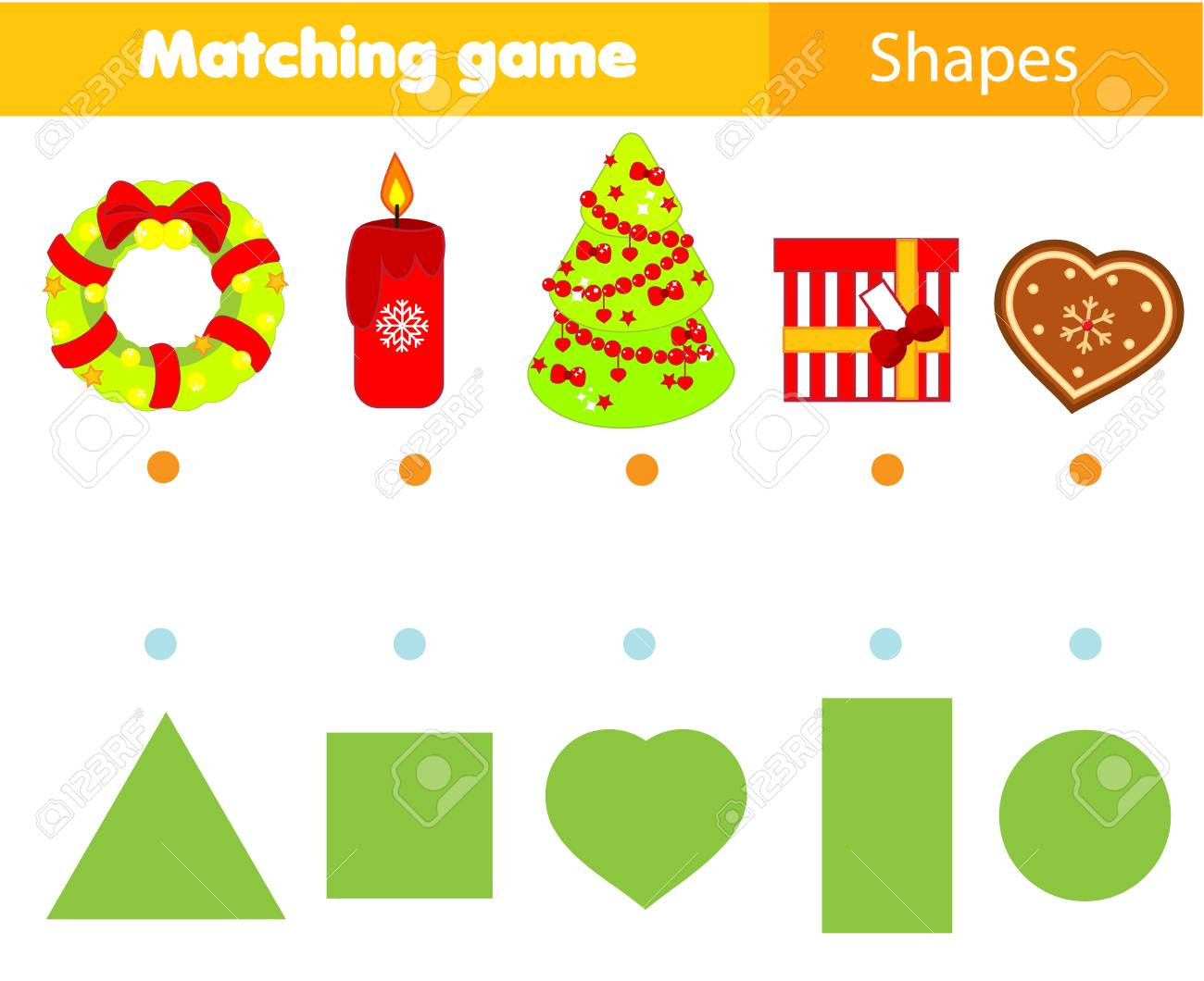 Christmas Shapes.Shape Matching Game Kids Activity With Christmas Objects New