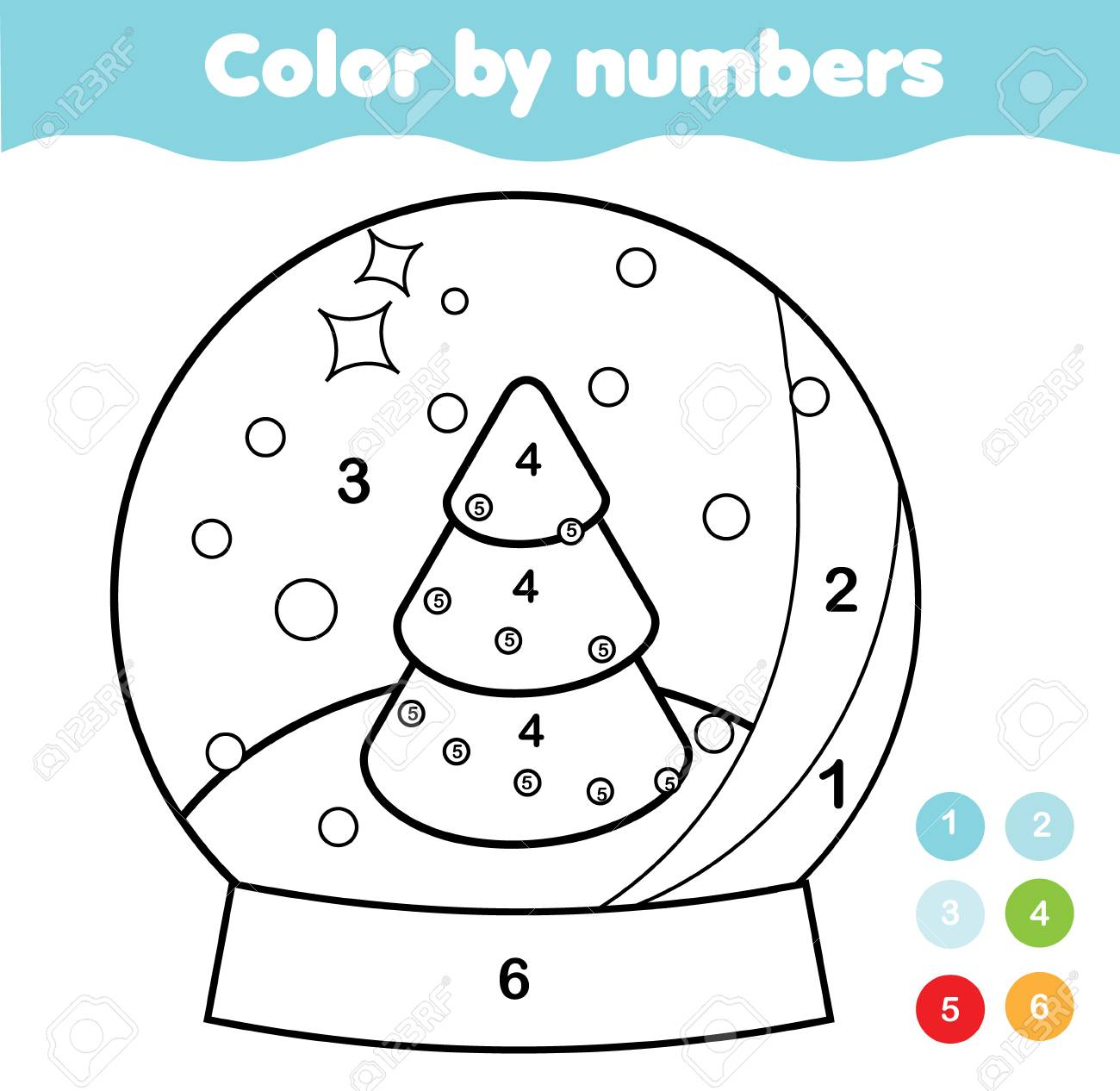 Coloring page. Educational game for children. Color Christmas..