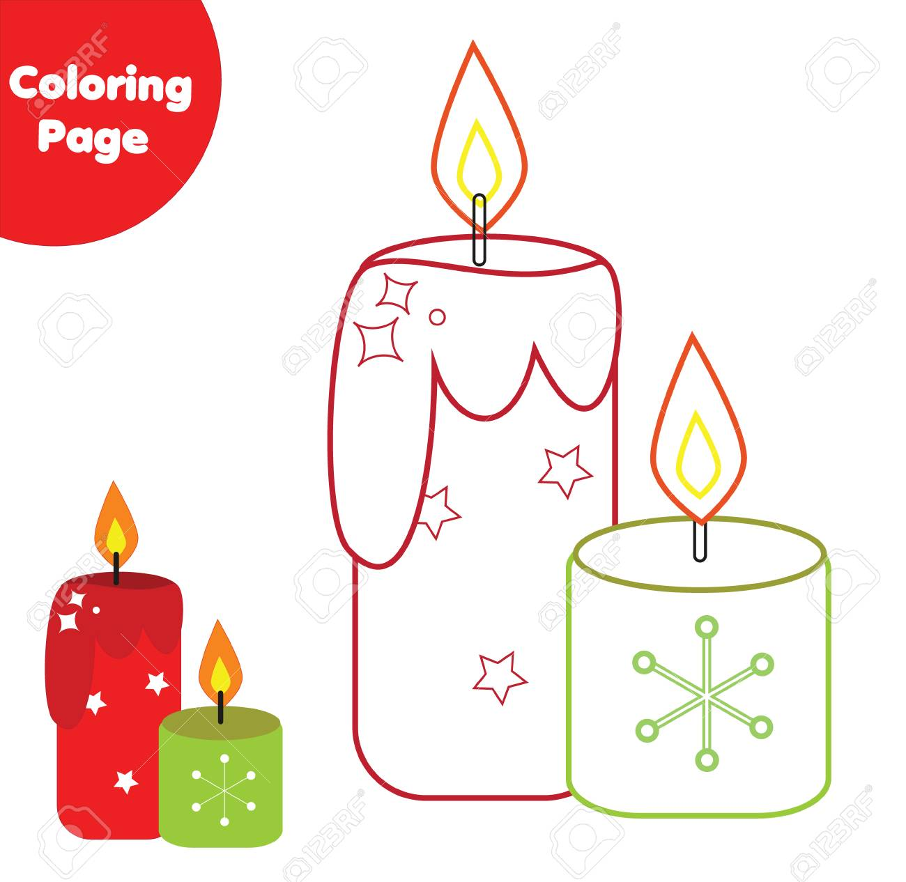 image regarding Printable Candles called Coloring webpage. Enlightening activity for youngsters. Coloration candles